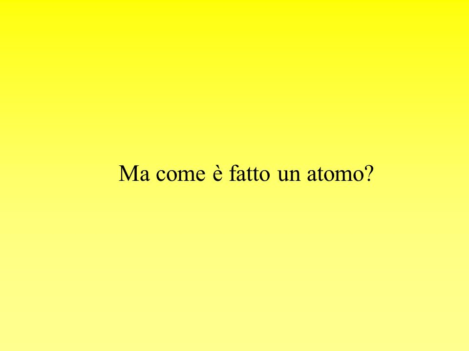 Ma come è fatto un atomo?