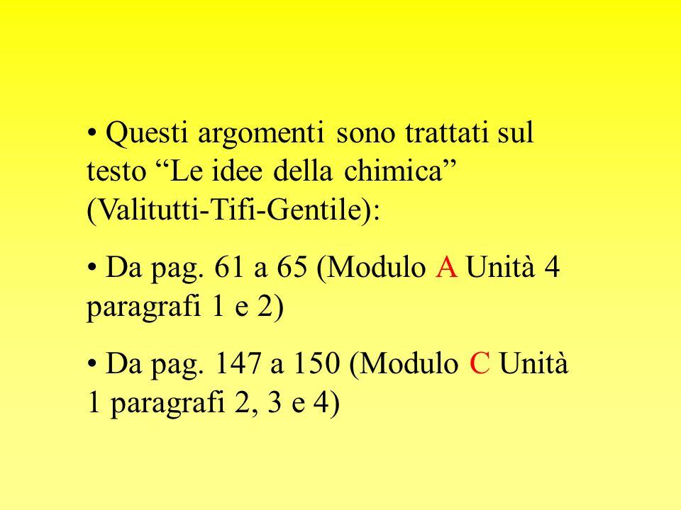 Questi argomenti sono trattati sul testo Le idee della chimica (Valitutti-Tifi-Gentile): Da pag. 61 a 65 (Modulo A Unità 4 paragrafi 1 e 2) Da pag. 14