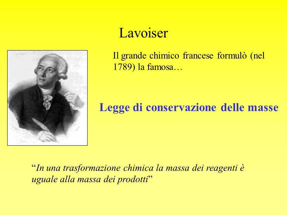 Lavoiser Il grande chimico francese formulò (nel 1789) la famosa… Legge di conservazione delle masse In una trasformazione chimica la massa dei reagen