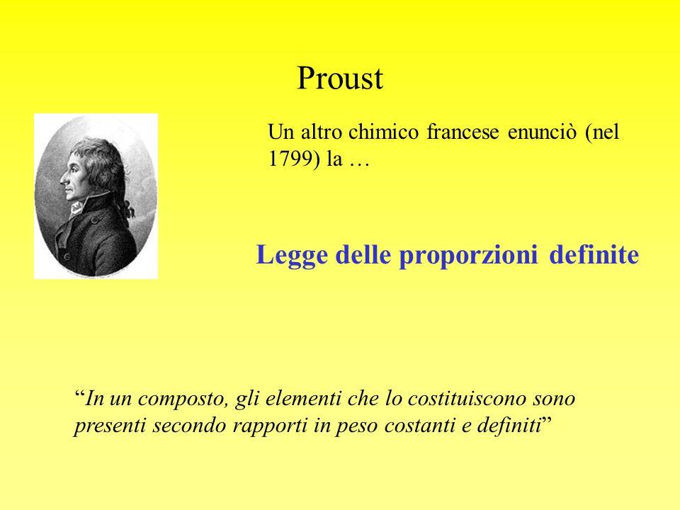 Proust Un altro chimico francese enunciò (nel 1799) la … Legge delle proporzioni definite In un composto, gli elementi che lo costituiscono sono prese