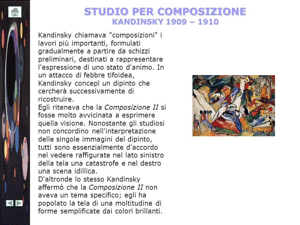 STUDIO PER COMPOSIZIONE KANDINSKY 1909 – 1910 Kandinsky chiamava