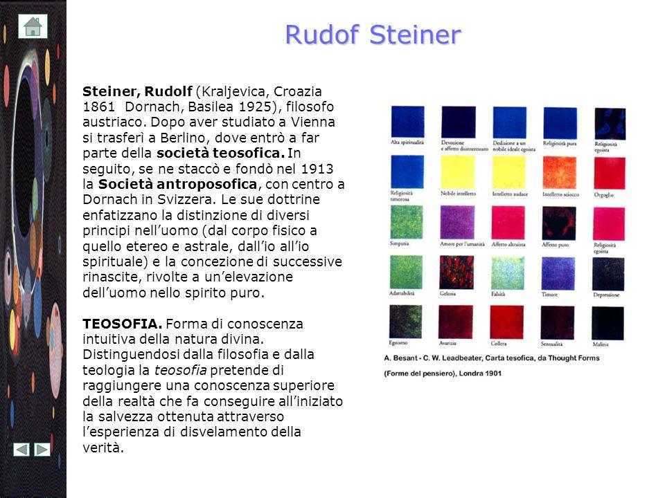 Rudof Steiner Steiner, Rudolf (Kraljevica, Croazia 1861  Dornach, Basilea 1925), filosofo austriaco. Dopo aver studiato a Vienna si trasferì a Berlin