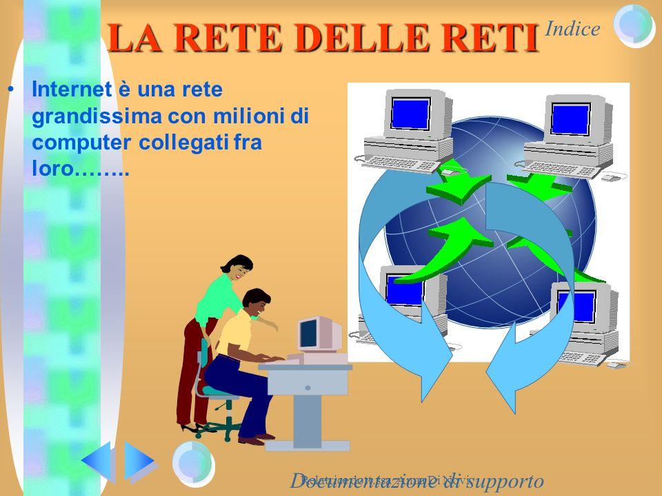 Indice Relatrice dott.ssa Anna Di Novi Documentazione di supporto LA RETE DELLE RETI Internet è una rete grandissima con milioni di computer collegati