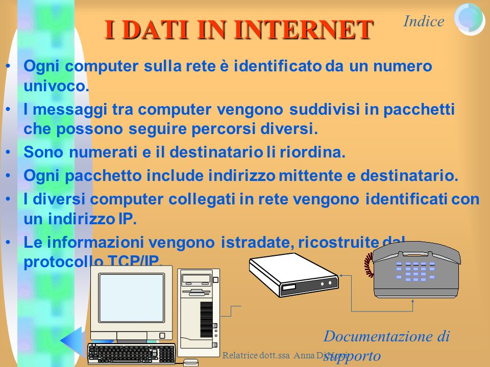 Indice Relatrice dott.ssa Anna Di Novi Documentazione di supporto I DATI IN INTERNET Ogni computer sulla rete è identificato da un numero univoco. I m