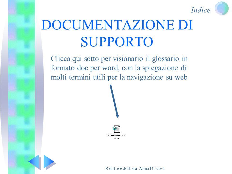 Indice Relatrice dott.ssa Anna Di Novi DOCUMENTAZIONE DI SUPPORTO Clicca qui sotto per visionario il glossario in formato doc per word, con la spiegaz