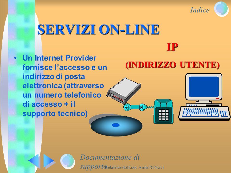 Indice Relatrice dott.ssa Anna Di Novi Un Internet Provider fornisce laccesso e un indirizzo di posta elettronica (attraverso un numero telefonico di