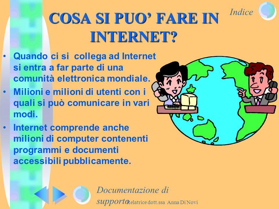 Indice Relatrice dott.ssa Anna Di Novi COSA SI PUO FARE IN INTERNET? Quando ci si collega ad Internet si entra a far parte di una comunità elettronica