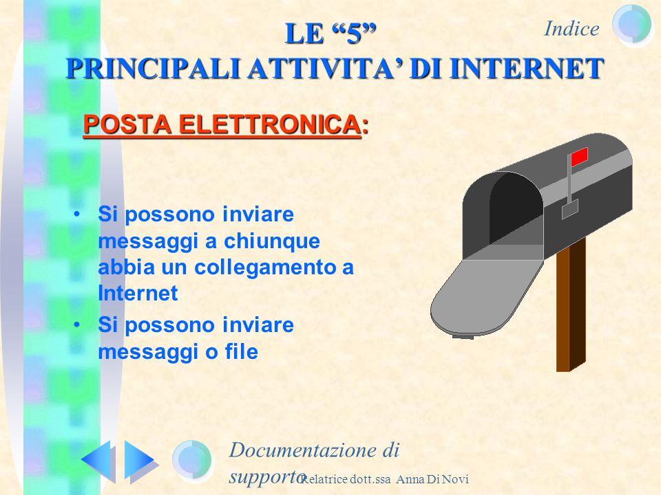 Indice Relatrice dott.ssa Anna Di Novi POSTA ELETTRONICA: Documentazione di supporto LE 5 PRINCIPALI ATTIVITA DI INTERNET Si possono inviare messaggi