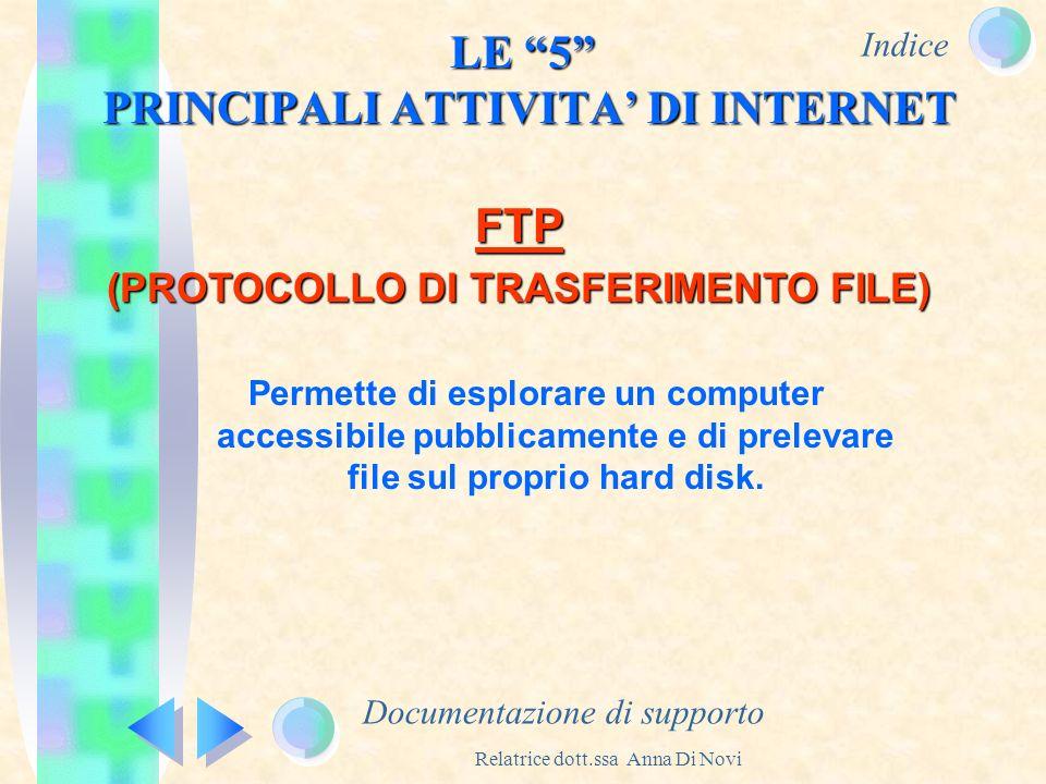 Indice Relatrice dott.ssa Anna Di Novi LE 5 PRINCIPALI ATTIVITA DI INTERNET Documentazione di supporto FTP (PROTOCOLLO DI TRASFERIMENTO FILE) Permette