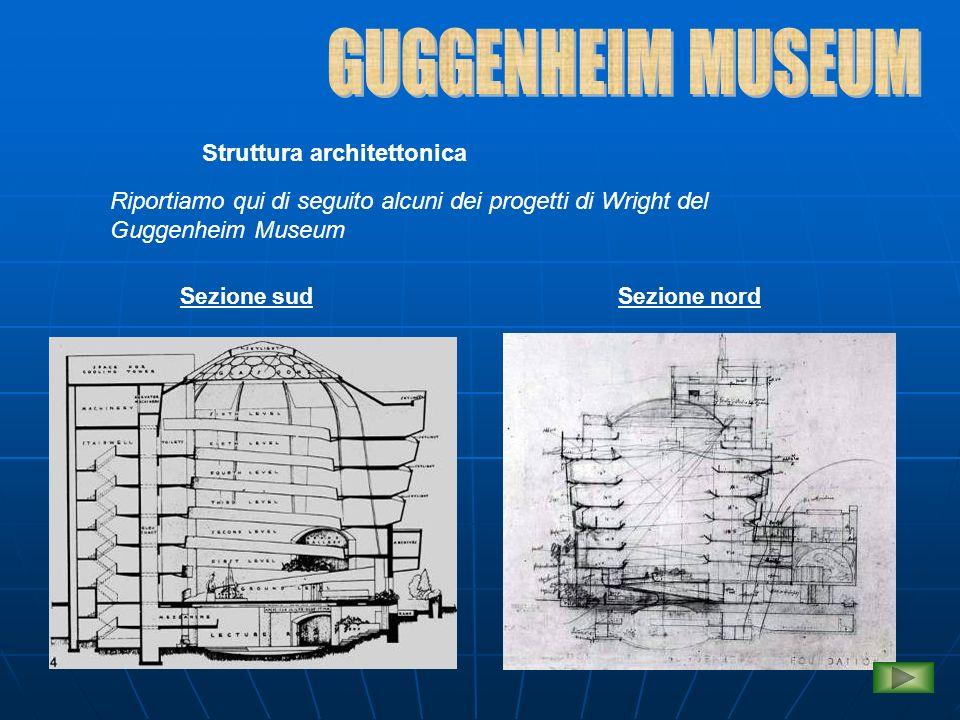 Struttura architettonica Pianta Prospetto est Riportiamo qui di seguito alcuni dei progetti di Wright del Guggenheim Museum