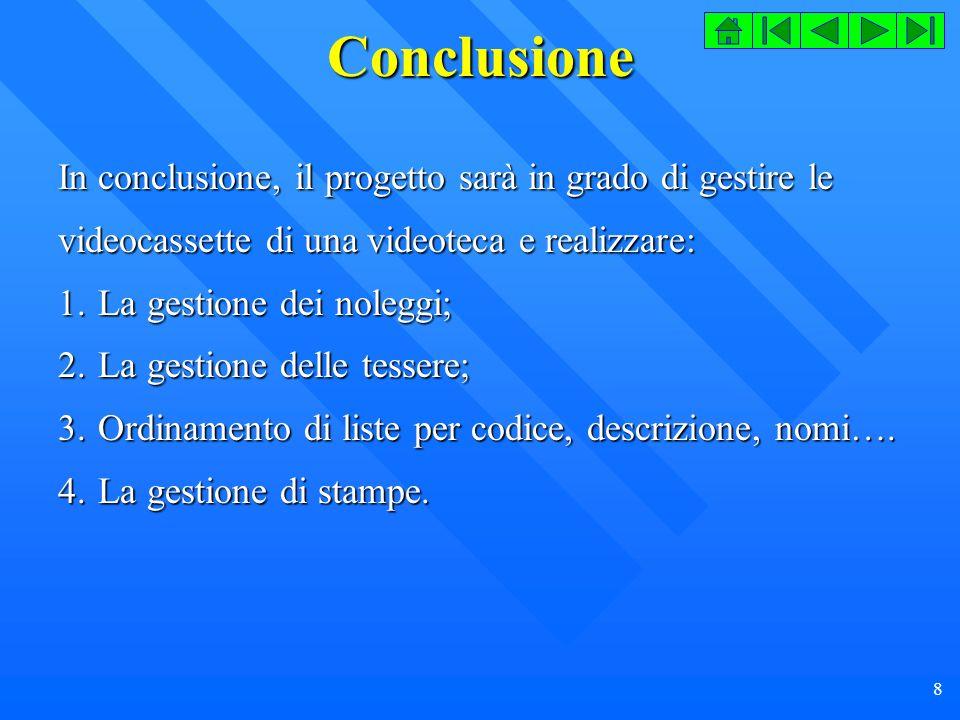 29 Codice (Form Genere) Private Sub cmdListaGeneri_Click() CodiceRicerca = 0 frmListaGeneri.Show 1 If (CodiceRicerca > 0) Or (CodiceRicerca <> 0) Then txtCampo(0).Text = CodiceRicerca RicercaRecord Else txtCampo(0).Text = txtCampo(0).SetFocus End If End Sub Private Sub cmdModifica_Click() Dim Ind As Byte ImpostazioniComandi lblAzione.Caption = Modifica cmdOk.ToolTipText = Conferma modifica cmdListaGeneri.Enabled = True For Ind = 0 To 1 txtCampo(Ind).BackColor = vbWhite txtCampo(Ind).Enabled = True Next Ind txtCampo(0).SetFocus End Sub Private Sub cmdNuovo_Click() Const grigio = &HC0C0C0 Dim Ind As Byte ImpostazioniComandi For Ind = 0 To 1 txtCampo(Ind).BackColor = vbWhite txtCampo(Ind).Enabled = True Next Ind txtCampo(1).SetFocus lblAzione.Caption = Nuovo cmdOk.ToolTipText = Nuovo cmdListaGeneri.Enabled = False txtCampo(0).Enabled = False txtCampo(0).BackColor = grigio datGeneri.Recordset.OpenRecordset If (datGeneri.Recordset.BOF) And (datGeneri.Recordset.EOF) Then txtCampo(0).Text = 1 Else datGeneri.Recordset.MoveLast txtCampo(0).Text = datGeneri.Recordset( CodiceGenere ) End If End Sub