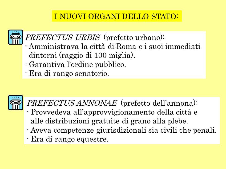 I NUOVI ORGANI DELLO STATO: PREFECTUS URBIS (prefetto urbano): - Amministrava la città di Roma e i suoi immediati dintorni (raggio di 100 miglia). - G