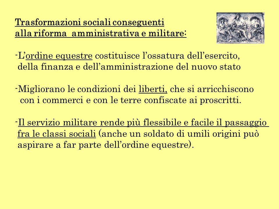 Trasformazioni sociali conseguenti alla riforma amministrativa e militare: -L-Lordine equestre costituisce lossatura dellesercito, della finanza e del