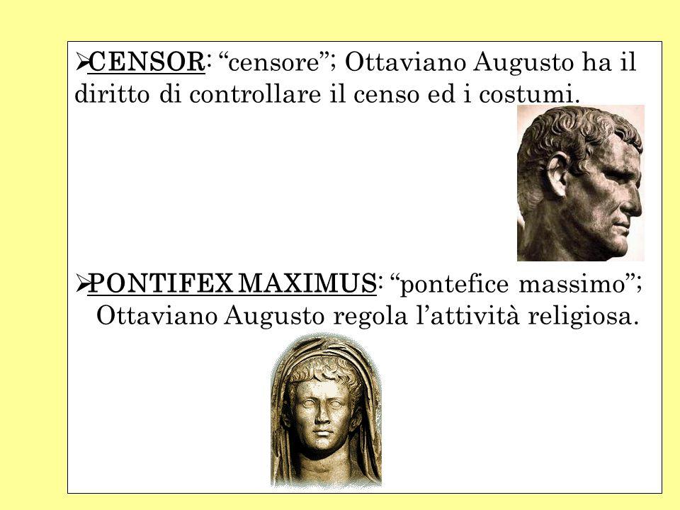 CENSOR: censore; Ottaviano Augusto ha il diritto di controllare il censo ed i costumi. PONTIFEX MAXIMUS: pontefice massimo; Ottaviano Augusto regola l