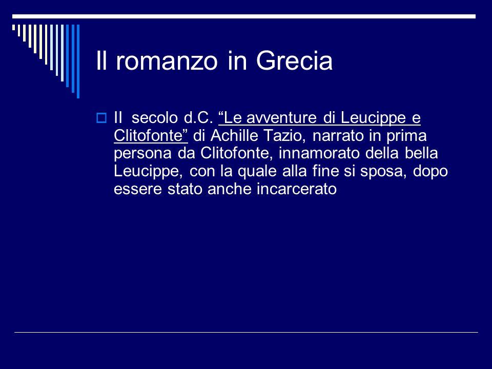 Il romanzo in Grecia II secolo d.C.