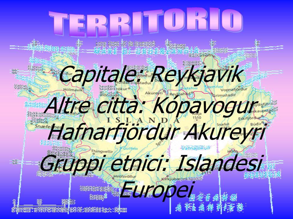 Capitale: Reykjavik Altre città: Kópavogur Hafnarfjördur Akureyri Gruppi etnici: Islandesi Europei