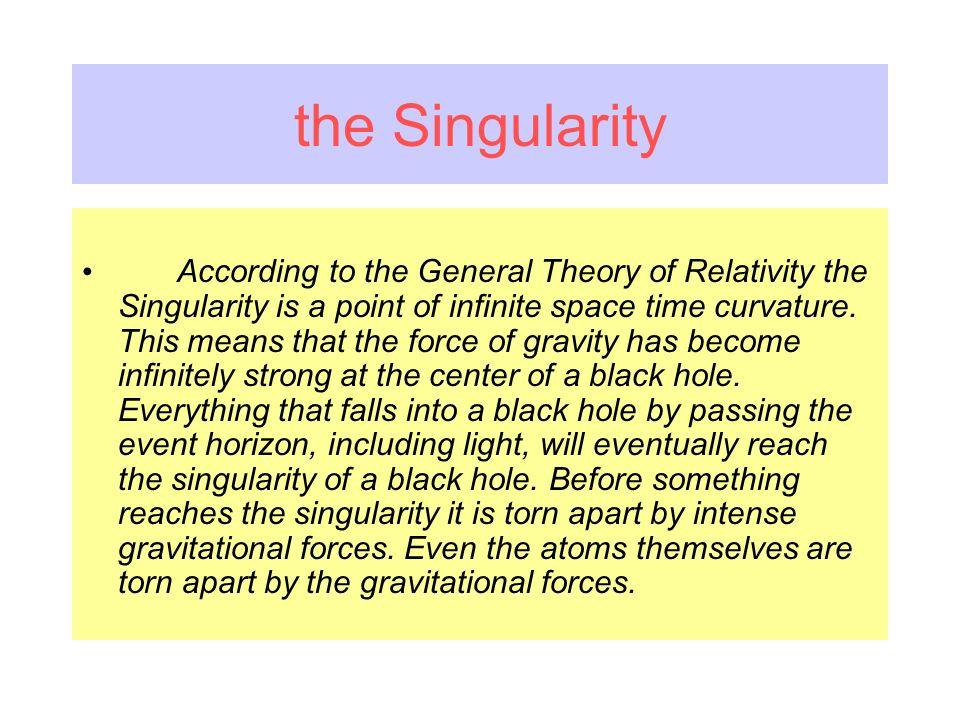 Analizziamo lultimo e più drammatico caso, quando la contrazione gravitazionale va a caratterizzare levoluzione finale di una stella di massa enorme, levento del collasso è così drastico che avviene unimmane esplosione che libera enormi quantità di energia gravitazionale ed espande linvolucro esterno della stella lasciando al centro un nucleo caldo e denso.Lulteriore collasso di questo nucleo diviene inarrestabile, la materia si contrae indefinitamente fino ad occupare volume zero, ed in uno stato di desità infinita avremo la singolarità: il centro di un buco nero.