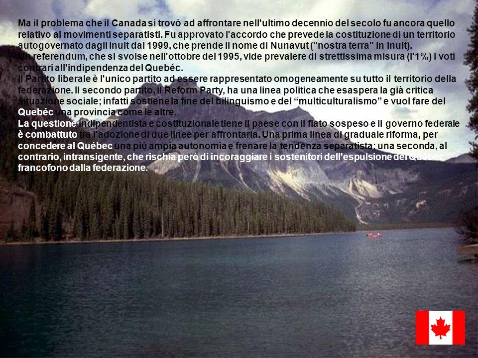 Ma il problema che il Canada si trovò ad affrontare nell'ultimo decennio del secolo fu ancora quello relativo ai movimenti separatisti. Fu approvato l