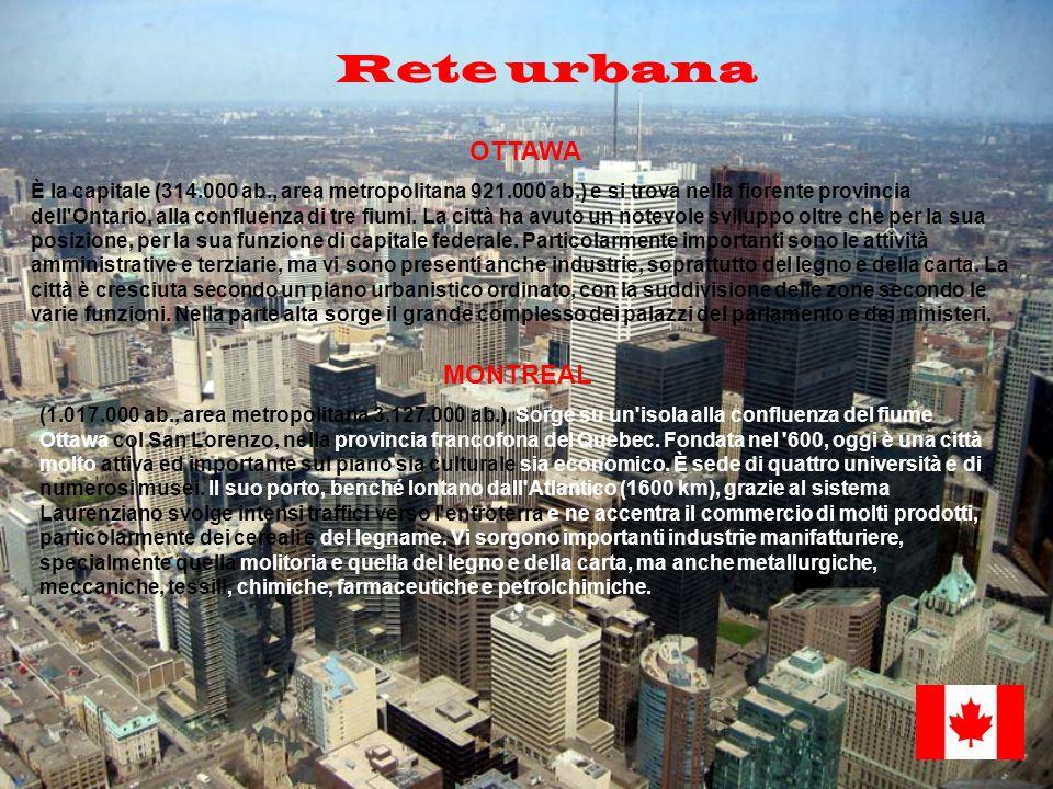 Rete urbana OTTAWA È la capitale (314.000 ab., area metropolitana 921.000 ab.) e si trova nella fiorente provincia dell'Ontario, alla confluenza di tr