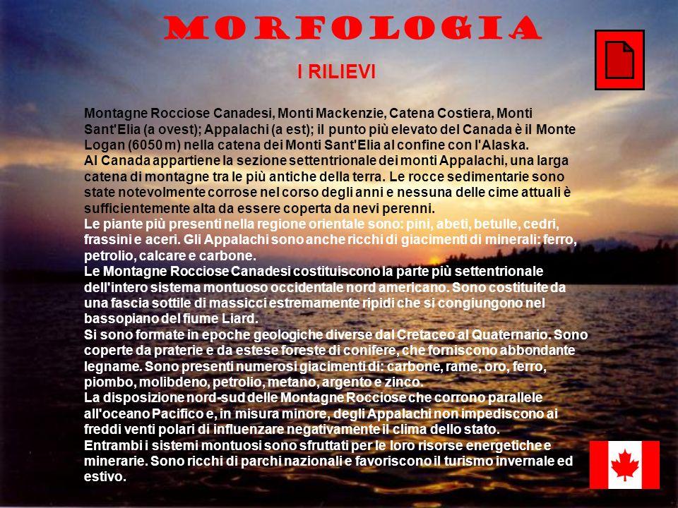 Morfologia I RILIEVI Montagne Rocciose Canadesi, Monti Mackenzie, Catena Costiera, Monti Sant'Elia (a ovest); Appalachi (a est); il punto più elevato