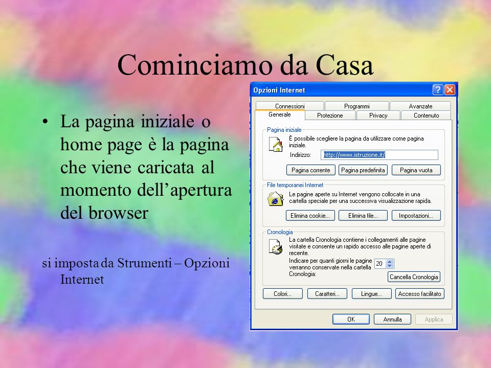 Il browser WWW Pagina WWW Pulsanti di navigazione Link (collegam.) Indirizzo Home page