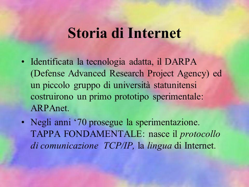 Storia di Internet Internet non è mai stata una rete militare, ma i militari sono alla radice della tecnologia su cui si basa. Inizio: anni 60, i mili