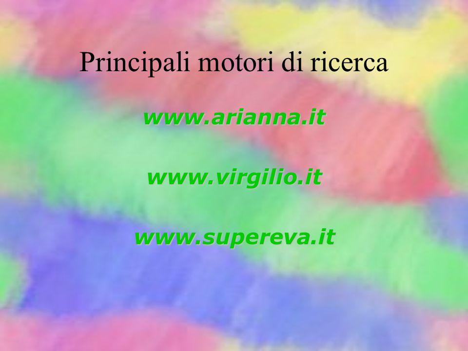 Principali motori di ricerca www.altavista.com www.lycos.comwww.yahoo.com con corrispondente in italiano con estensione.it