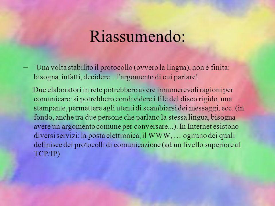 Riassumendo: Tre elementi importanti costituiscono Internet: –Il mezzo trasmissivo, ovvero la rete fisica che collega i computer.