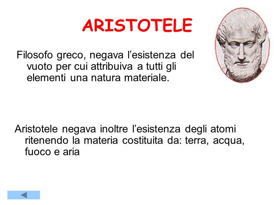ARISTOTELE Filosofo greco, negava lesistenza del vuoto per cui attribuiva a tutti gli elementi una natura materiale.