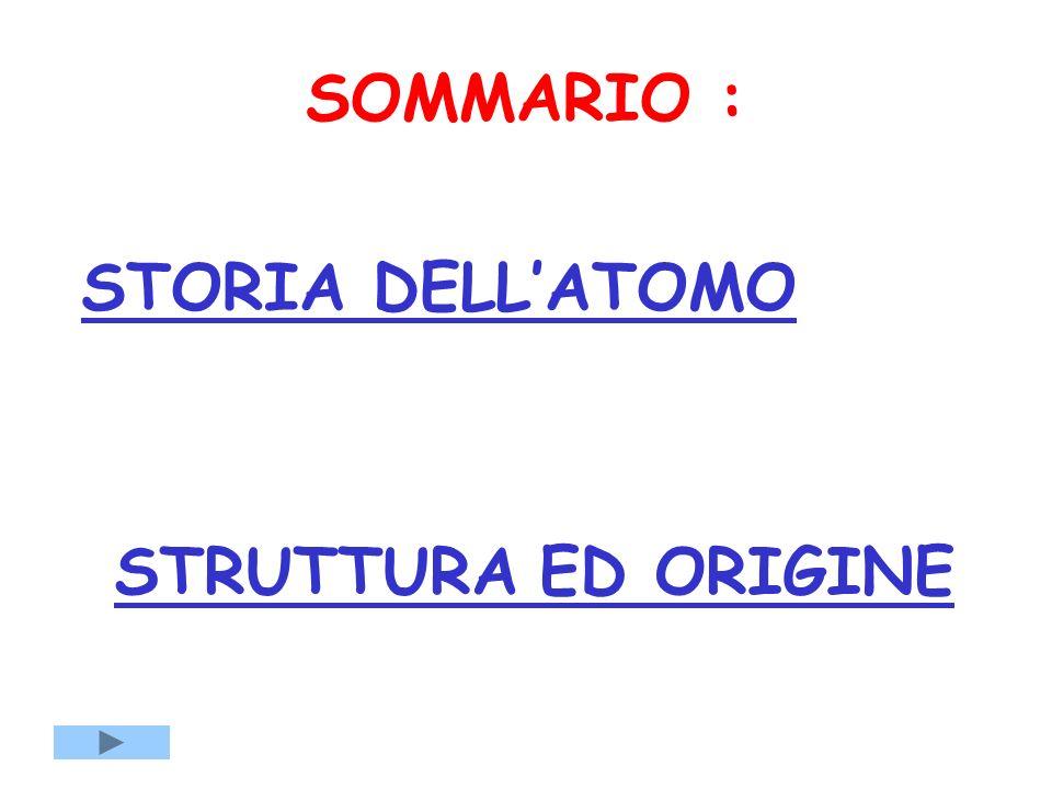 SOMMARIO : STORIA DELLATOMO STRUTTURA ED ORIGINE