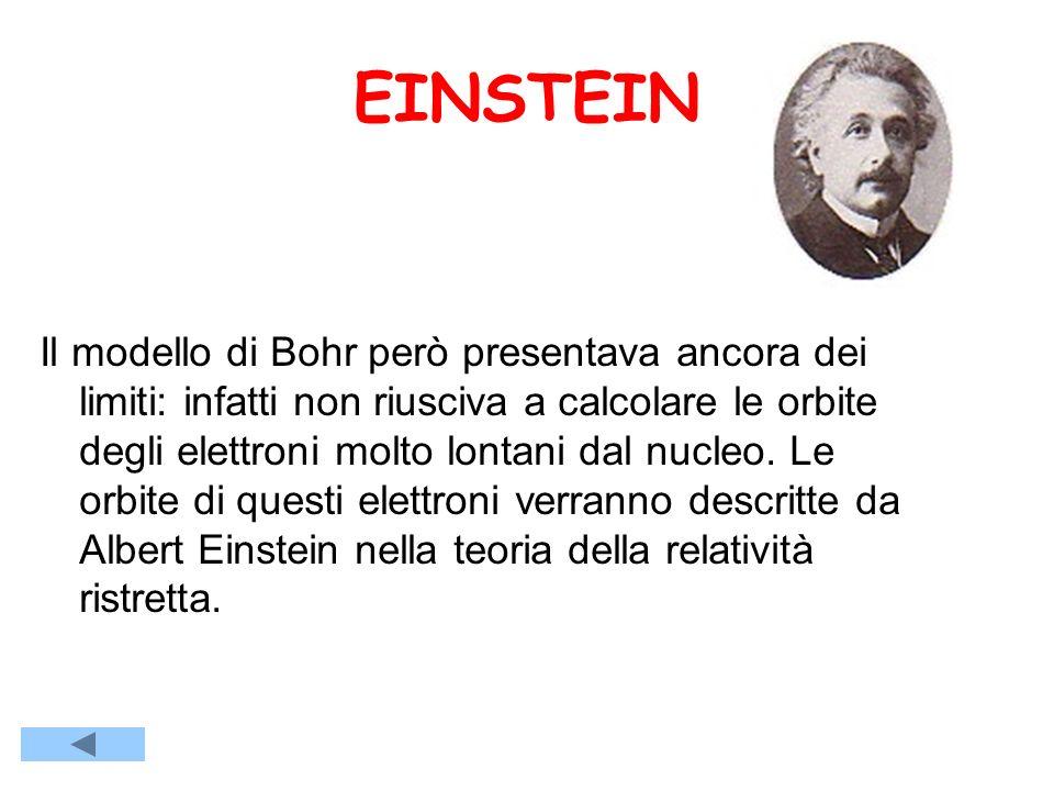 EINSTEIN Il modello di Bohr però presentava ancora dei limiti: infatti non riusciva a calcolare le orbite degli elettroni molto lontani dal nucleo.