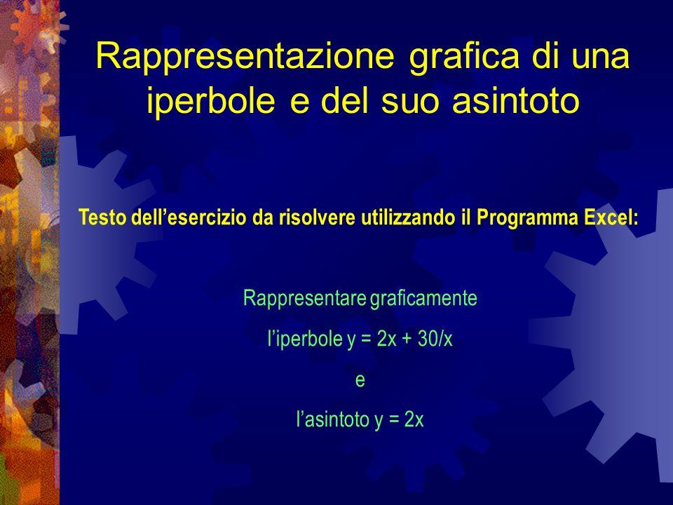 Rappresentazione grafica di una iperbole e del suo asintoto Testo dellesercizio da risolvere utilizzando il Programma Excel: Rappresentare graficament