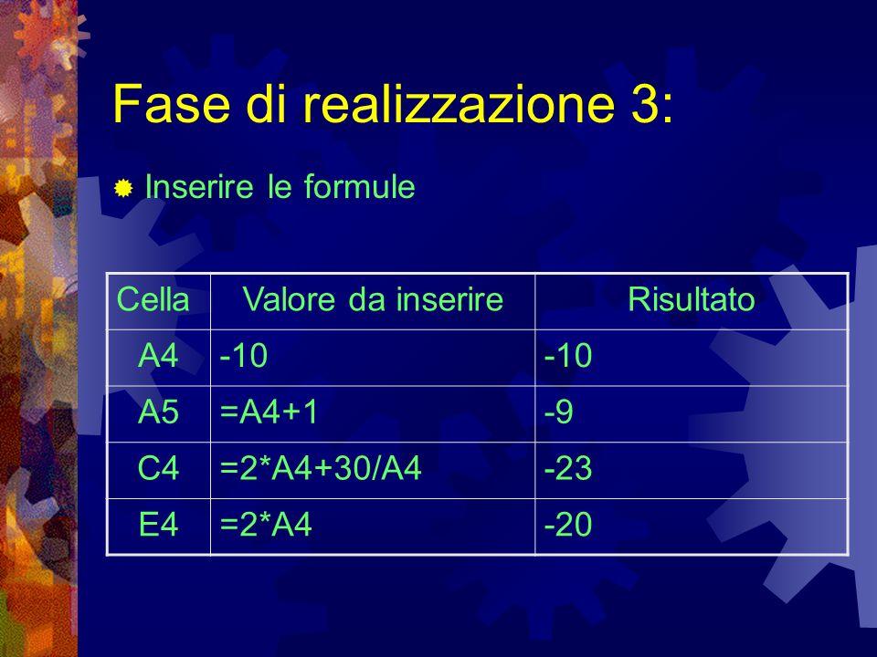 Fase di realizzazione 3: Inserire le formule CellaValore da inserireRisultato A4-10 A5=A4+1-9 C4=2*A4+30/A4-23 E4=2*A4-20