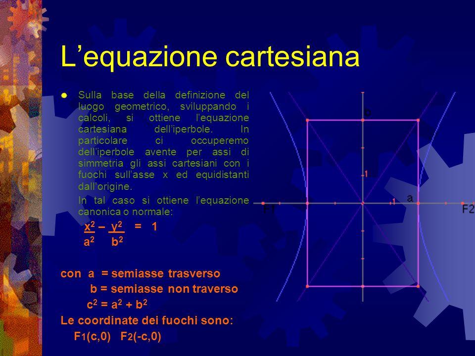 Lequazione cartesiana Sulla base della definizione del luogo geometrico, sviluppando i calcoli, si ottiene lequazione cartesiana delliperbole. In part