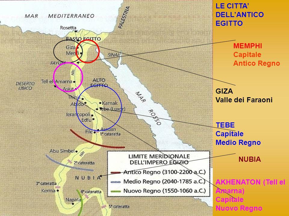 LE CITTA DELLANTICO EGITTO MEMPHI Capitale Antico Regno GIZA Valle dei Faraoni TEBE Capitale Medio Regno AKHENATON (Tell el Amarna) Capitale Nuovo Reg