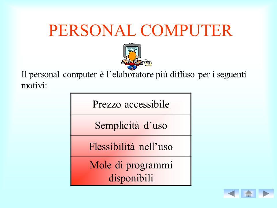 PERSONAL COMPUTER Il personal computer è lelaboratore più diffuso per i seguenti motivi: Prezzo accessibile Semplicità duso Flessibilità nelluso Mole