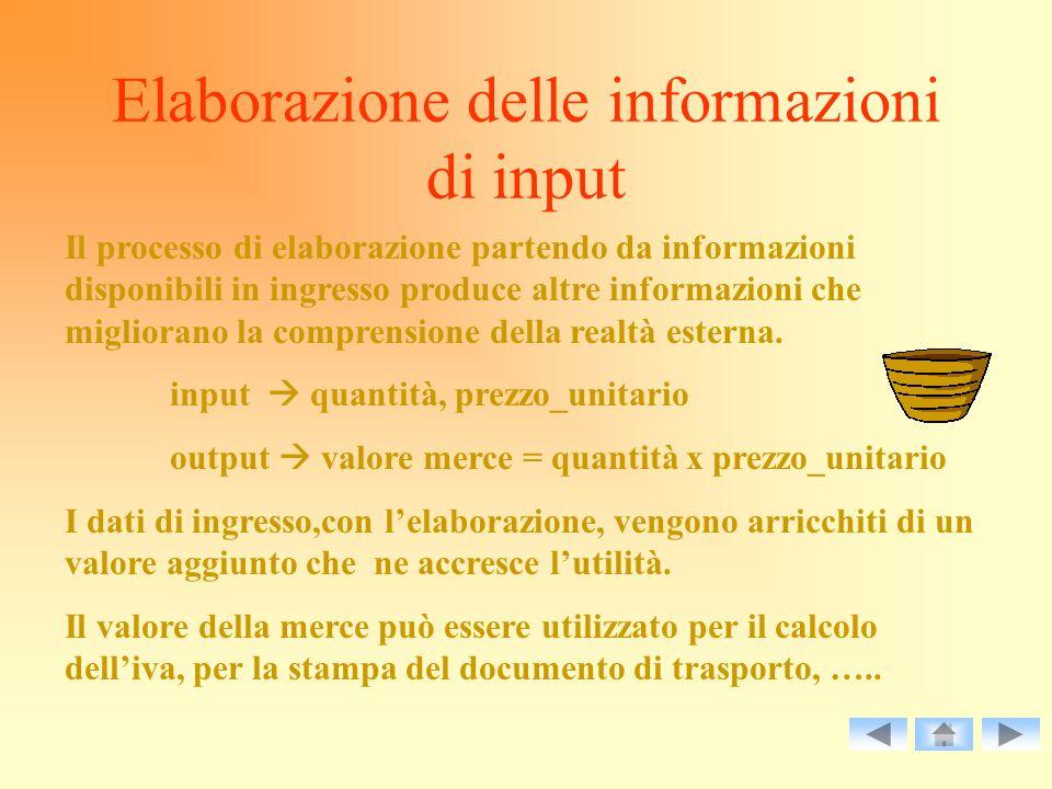 Elaborazione delle informazioni di input Il processo di elaborazione partendo da informazioni disponibili in ingresso produce altre informazioni che m
