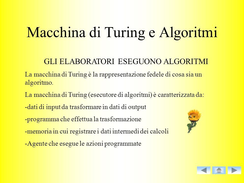 Macchina di Turing e Algoritmi GLI ELABORATORI ESEGUONO ALGORITMI La macchina di Turing è la rappresentazione fedele di cosa sia un algoritmo. La macc