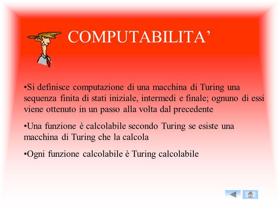 COMPUTABILITA Si definisce computazione di una macchina di Turing una sequenza finita di stati iniziale, intermedi e finale; ognuno di essi viene otte