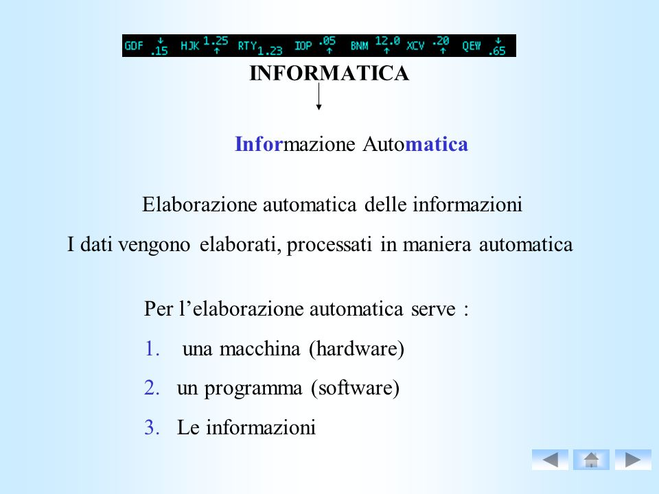 INFORMATICA Informazione Automatica Elaborazione automatica delle informazioni I dati vengono elaborati, processati in maniera automatica Per lelabora