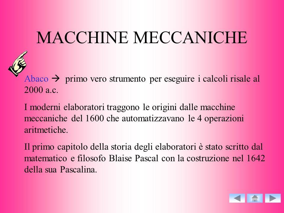 MACCHINE MECCANICHE Abaco primo vero strumento per eseguire i calcoli risale al 2000 a.c. I moderni elaboratori traggono le origini dalle macchine mec