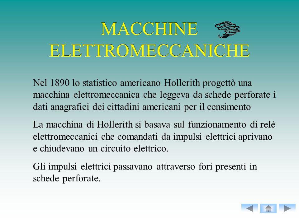 MACCHINE ELETTROMECCANICHE Nel 1890 lo statistico americano Hollerith progettò una macchina elettromeccanica che leggeva da schede perforate i dati an