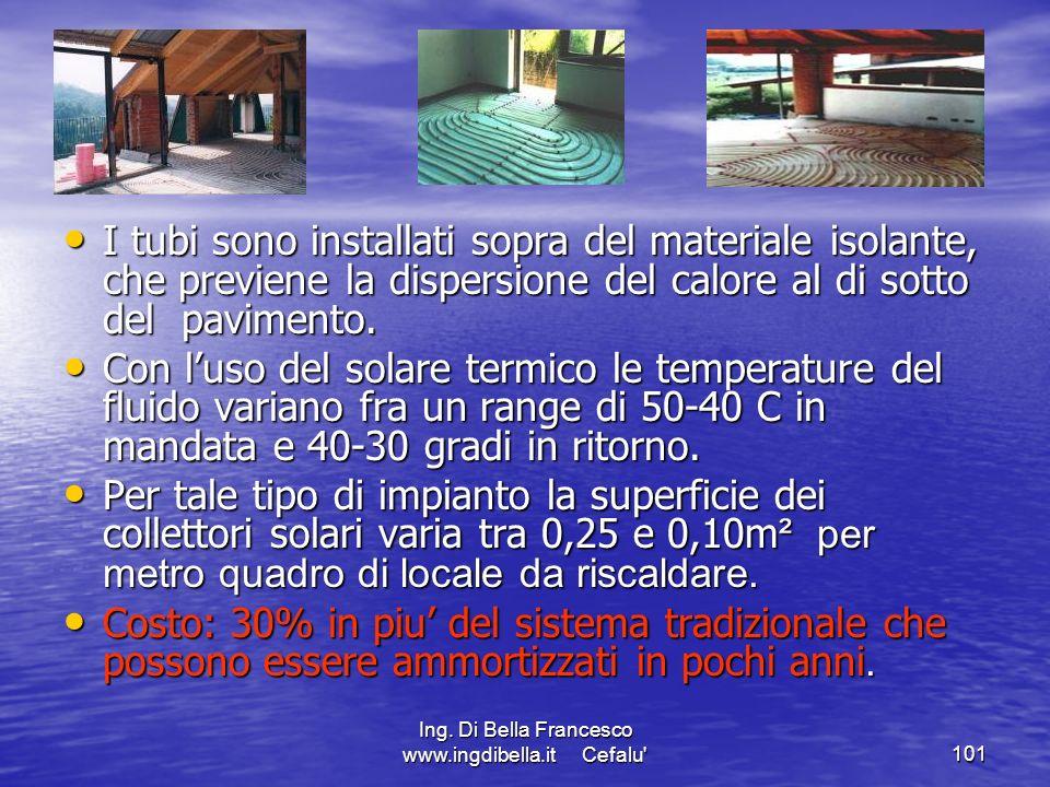 Ing. Di Bella Francesco www.ingdibella.it Cefalu'101 I tubi sono installati sopra del materiale isolante, che previene la dispersione del calore al di
