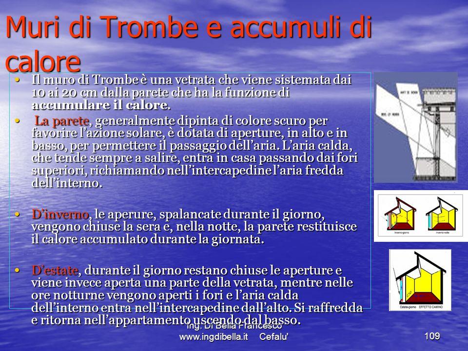 Ing. Di Bella Francesco www.ingdibella.it Cefalu'109 Muri di Trombe e accumuli di calore Il muro di Trombe è una vetrata che viene sistemata dai 10 ai