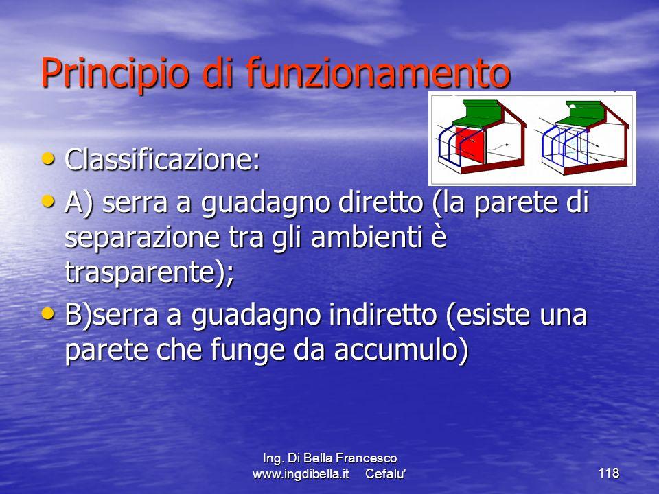 Ing. Di Bella Francesco www.ingdibella.it Cefalu'118 Principio di funzionamento Classificazione: Classificazione: A) serra a guadagno diretto (la pare