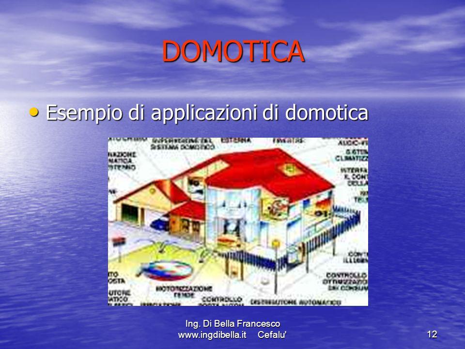 Ing. Di Bella Francesco www.ingdibella.it Cefalu'12 DOMOTICA Esempio di applicazioni di domotica Esempio di applicazioni di domotica