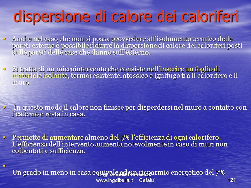 Ing. Di Bella Francesco www.ingdibella.it Cefalu'121 Anche nel caso che non si possa provvedere all'isolamento termico delle pareti esterne è possibil