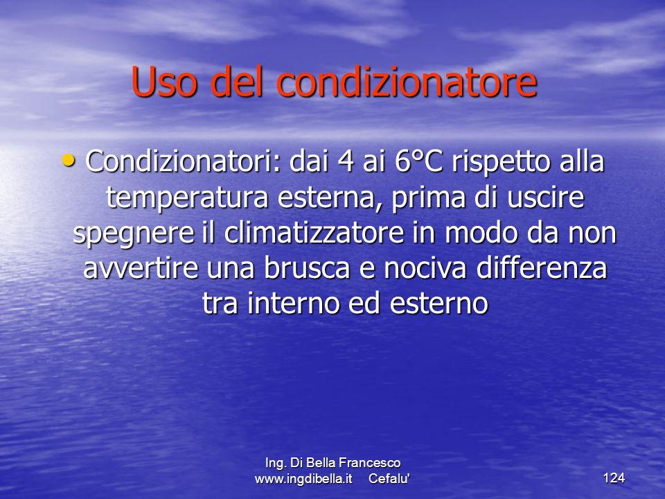 Ing. Di Bella Francesco www.ingdibella.it Cefalu'124 Uso del condizionatore Condizionatori: dai 4 ai 6°C rispetto alla temperatura esterna, prima di u