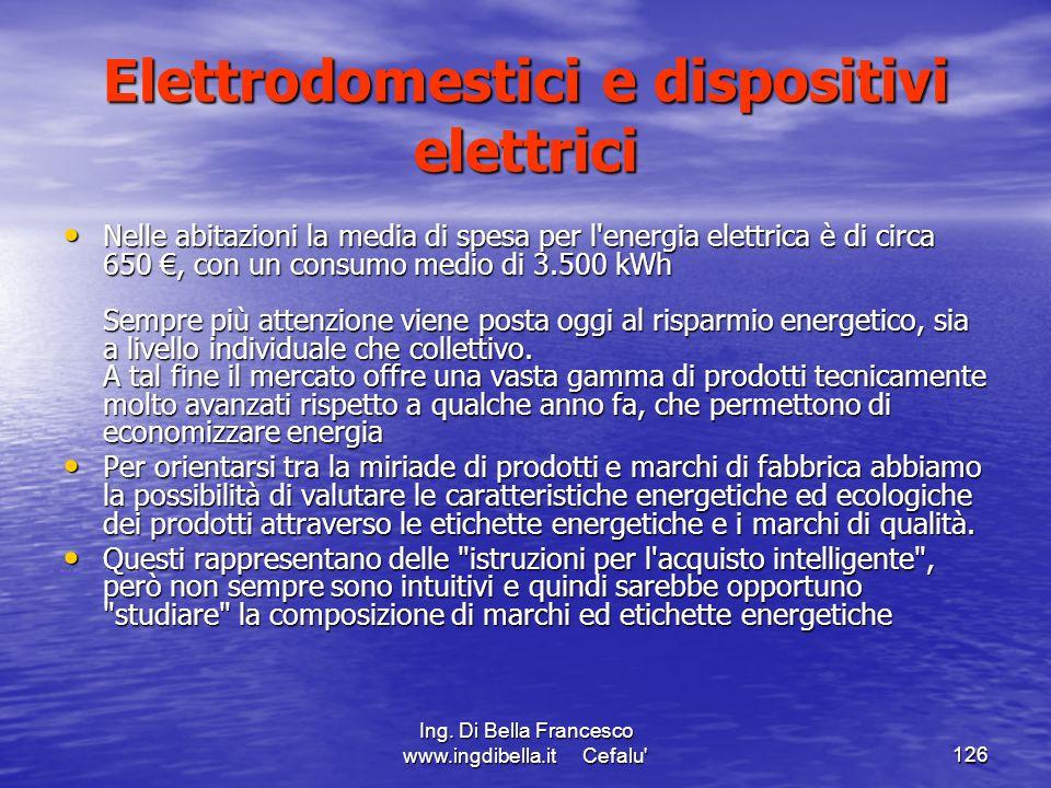 Ing. Di Bella Francesco www.ingdibella.it Cefalu'126 Elettrodomestici e dispositivi elettrici Nelle abitazioni la media di spesa per l'energia elettri