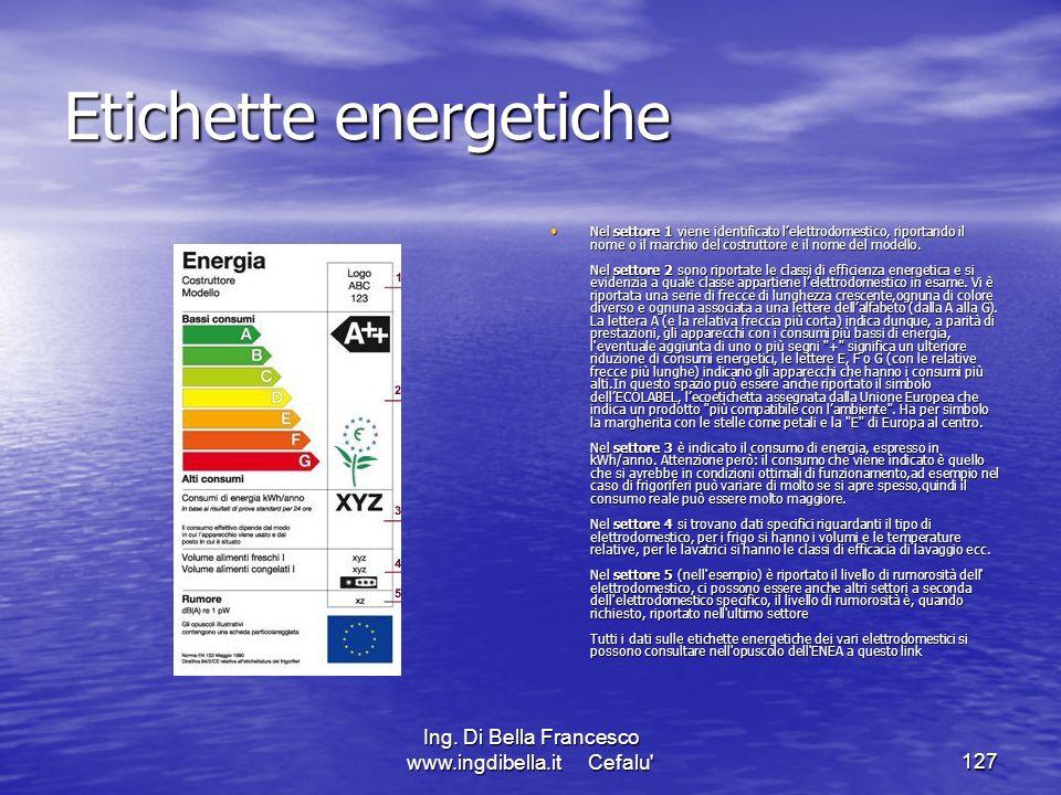 Ing. Di Bella Francesco www.ingdibella.it Cefalu'127 Etichette energetiche Nel settore 1 viene identificato lelettrodomestico, riportando il nome o il